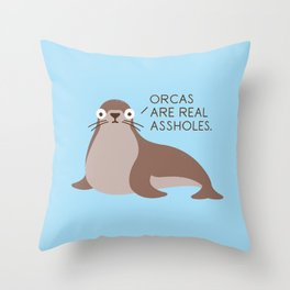 Seal of Reproval Throw Pillow