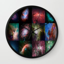 Spitzer Telescope Space Collage Wall Clock