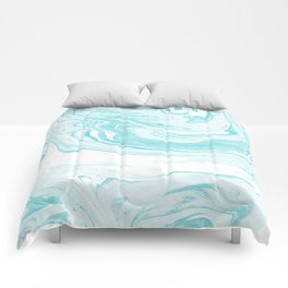 Giro - spilled ink abstract marble watercolor japanese painting marbling unique mint pastel  Comforters