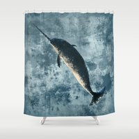 biology Shower Curtains featuring Jackson the Narwhal by Amber Marine