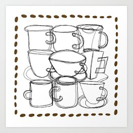 Coffee Beans and Mugs Art Print