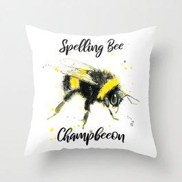 Spelling Bee Champbeeon - Punny Bee Throw Pillow