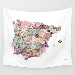 Spain map flowers composition Wall Tapestry