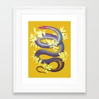 snake Framed Art Prints featuring Snake by The Wildest Little Things