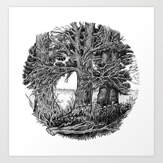 Trees and river Art Print