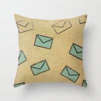 letter Throw Pillows featuring Letter by sinonelineman