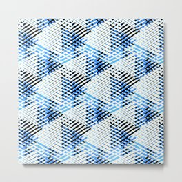 Pattern with dynamic crossing lines and stripes in black, blue and white Metal Print