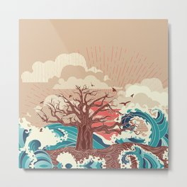 Alone old tree on island in the middle of the ocean, art nouveau Metal Print