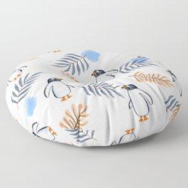 Penguin in Foliage Floor Pillow