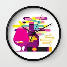 Modern style cognac bottle and glass, cigar Wall Clock