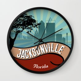 Jacksonville City Skyline Design Florida Retro Vintage 80s Wall Clock