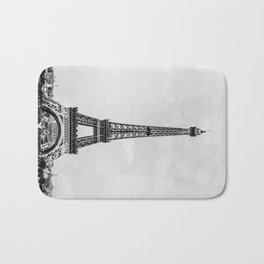 Eiffel tower, Paris France in black and white with painterly effect Bath Mat
