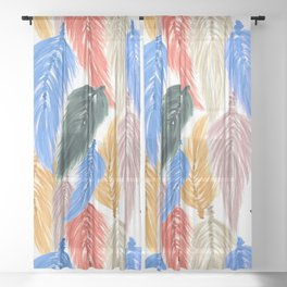 Watercolor Macrame Feather Toss in Earthy Rainbow Sheer Curtain