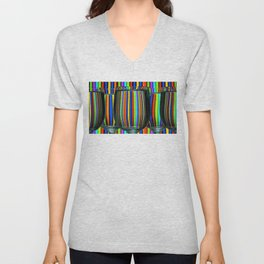 Colored Lines / Wine Glasses Photographic Unisex V-Neck