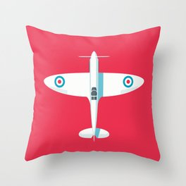 Spitfire WWII fighter aircraft - Crimson Throw Pillow