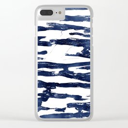 Abstract Waves in Blue Clear iPhone Case