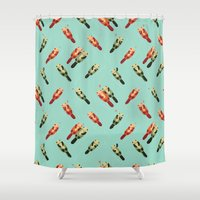 otters Shower Curtains featuring Otters' attractions by Lillian Ip-Koon