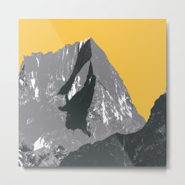 Super cool vector mountain with a yellow sky Metal Print