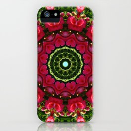 Red blossoms 001.5, Floral mandala-style iPhone Case