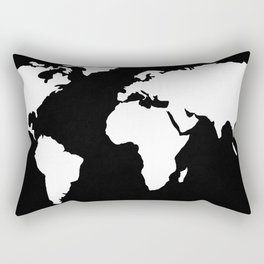 World Map White on Black Rectangular Pillow