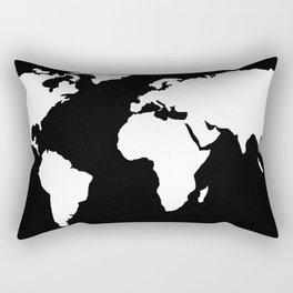World Map White on Black Rectangular Pillow