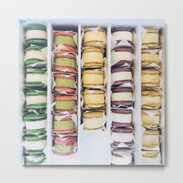 French Macaron Ice Cream Sandwiches in Freezer Metal Print