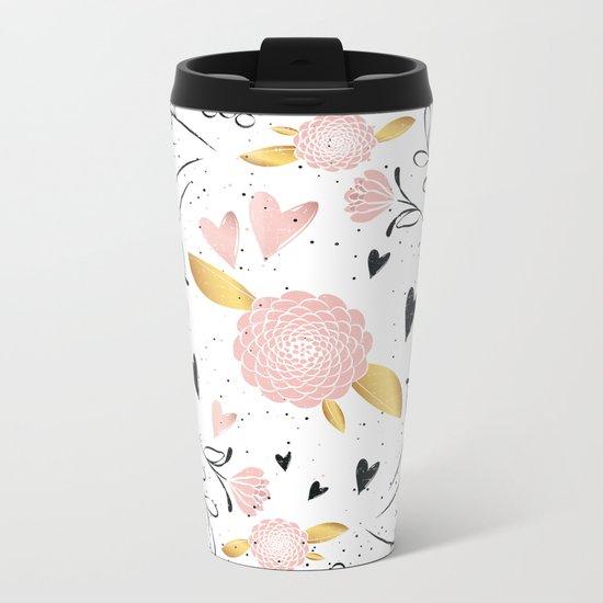 Hearts and Flowers Metal Travel Mug
