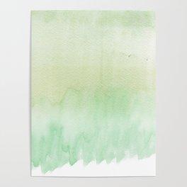 Hand painted mint green white elegant ombre brushstrokes Poster