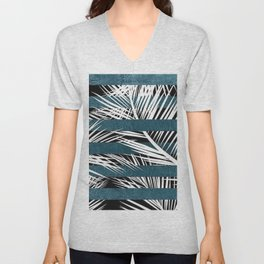 White Palms and Teal Lines Unisex V-Neck