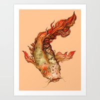 koi Art Prints featuring Koi by S.G. DeCarlo