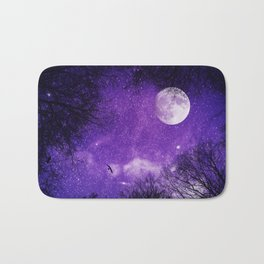 Nightsky with Full Moon in Ultra Violet Bath Mat