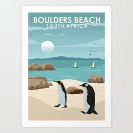 Boulders Beach South Africa Travel Poster Art Print
