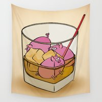 pigs Wall Tapestries featuring Pickle Pigs Too by Megs stuff