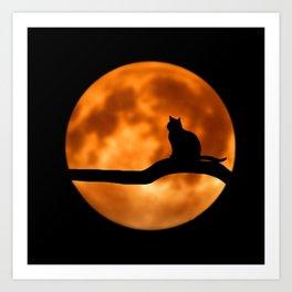 Art Cat Moon Art Print