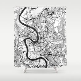 Dusseldorf Map Gray Shower Curtain