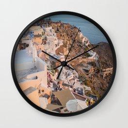 Grecian Sunset in Santorini, Greece Wall Clock