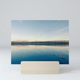 A blue  winter lake Mini Art Print