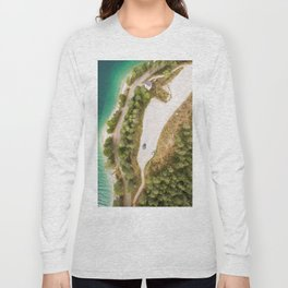 dolomites alps road lake trees forrest drone aerial shot horizon clouds vertical Long Sleeve T-shirt