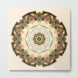 Gold Ornament Fractal (cream background) Metal Print