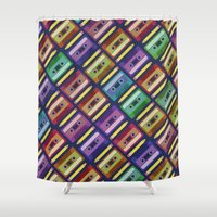 90s Shower Curtains featuring 90s pattern by Gabor Nemethi