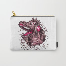 Dino with Headphones Puce Carry-All Pouch