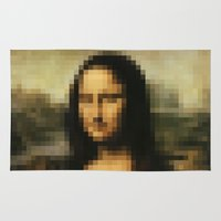 mona lisa Area & Throw Rugs featuring Mona Lisa by Bilal