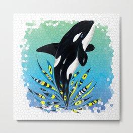 Cute Orca Whale Doodle Ink Teal Pattern Metal Print