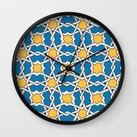 morocco Wall Clocks featuring Morocco ornament by Galina Khabarova