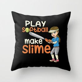 Softball for girls Throw Pillow