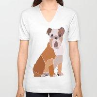 english bulldog V-neck T-shirts featuring English Bulldog by ANIMALS + BLACK
