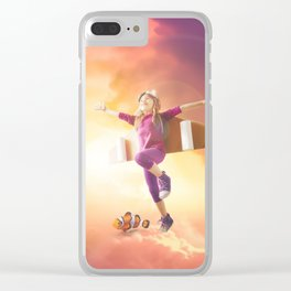 Mattepainting flying kid mattepainting Clear iPhone Case