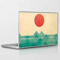 sun and moon Laptop & iPad Skins featuring The ocean, the sea, the wave by Picomodi