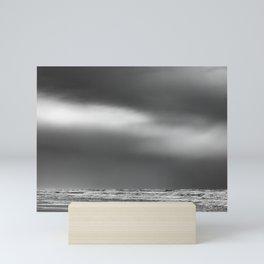 Black White Beach Storm Mini Art Print