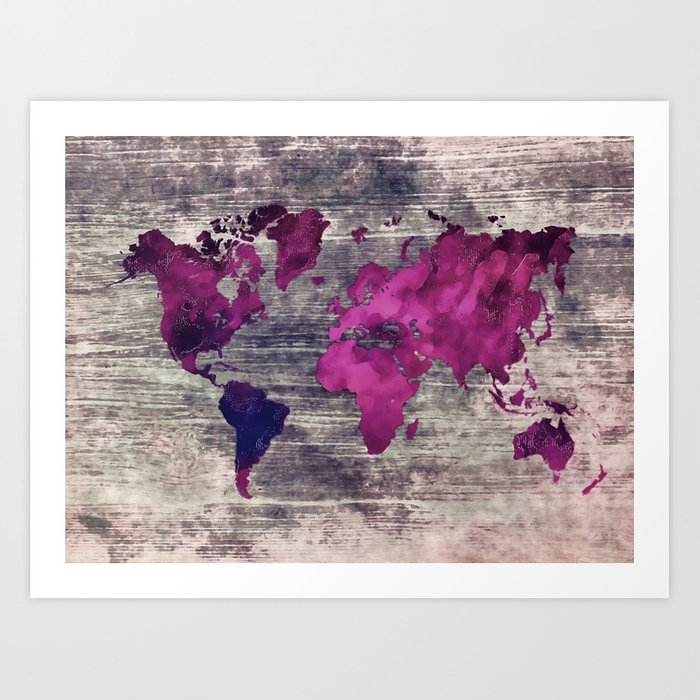 World map watercolor 7 Kunstdrucke